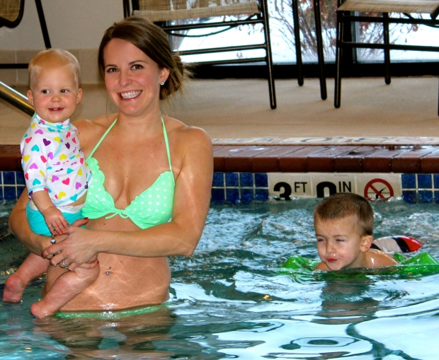 First time in the pool with cousin Bryce!
