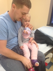 About to get her cast off.  Not sure who was more nervous, Makenzie or mommy.